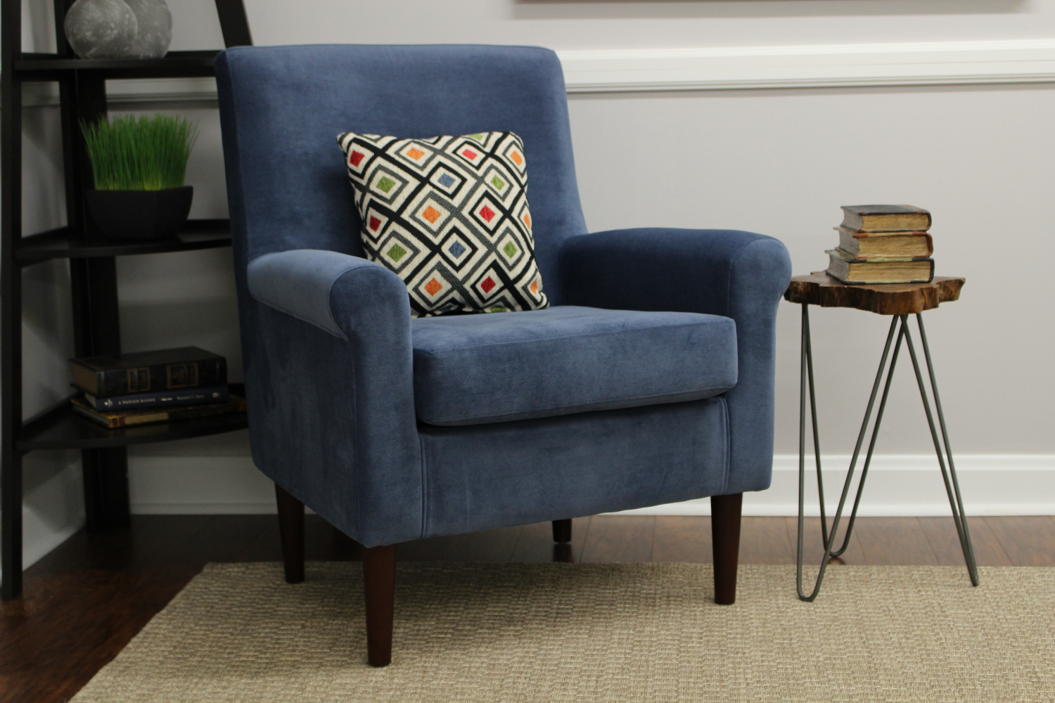Navy Rolled Arm Lounge Recliner Chair Upholstered Sofa Intended For Sofa Arm Chairs (View 4 of 15)