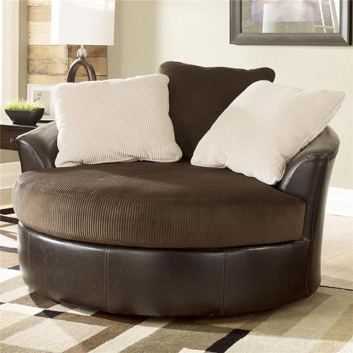 Nebraska Furniture Mart – Ashley Oversized Round Swivel Intended For Round Swivel Sofa Chairs (View 13 of 15)