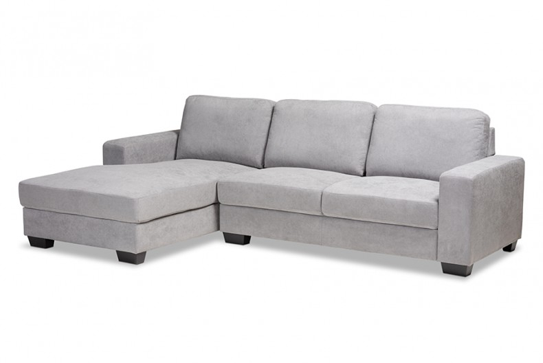Nevin Modern And Contemporary Light Grey Fabric Throughout 2Pc Crowningshield Contemporary Chaise Sofas Light Gray (View 9 of 15)