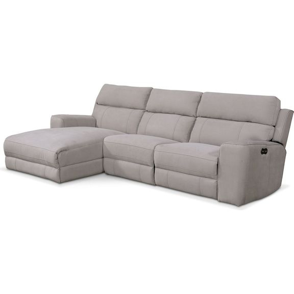 Newport 3 Piece Power Reclining Sectional With Left Facing Throughout Copenhagen Reclining Sectional Sofas With Left Storage Chaise (View 7 of 15)