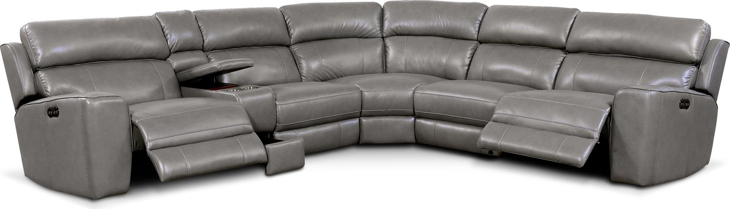 Newport 6 Piece Power Reclining Sectional With 2 Reclining With Forte Gray Power Reclining Sofas (View 1 of 15)