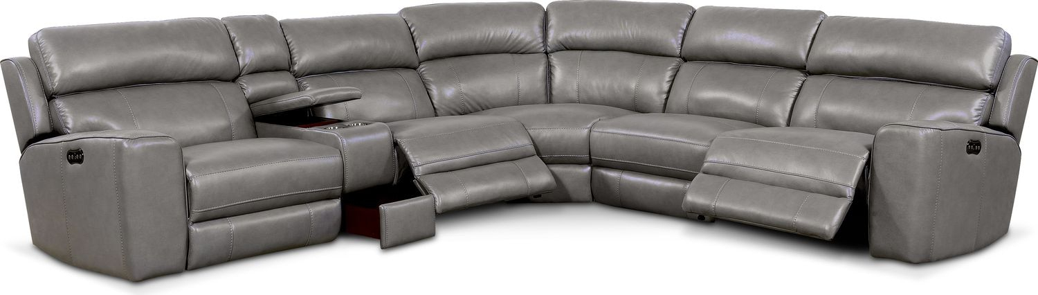 Newport 6 Piece Power Reclining Sectional With 3 Reclining Regarding Forte Gray Power Reclining Sofas (View 3 of 15)