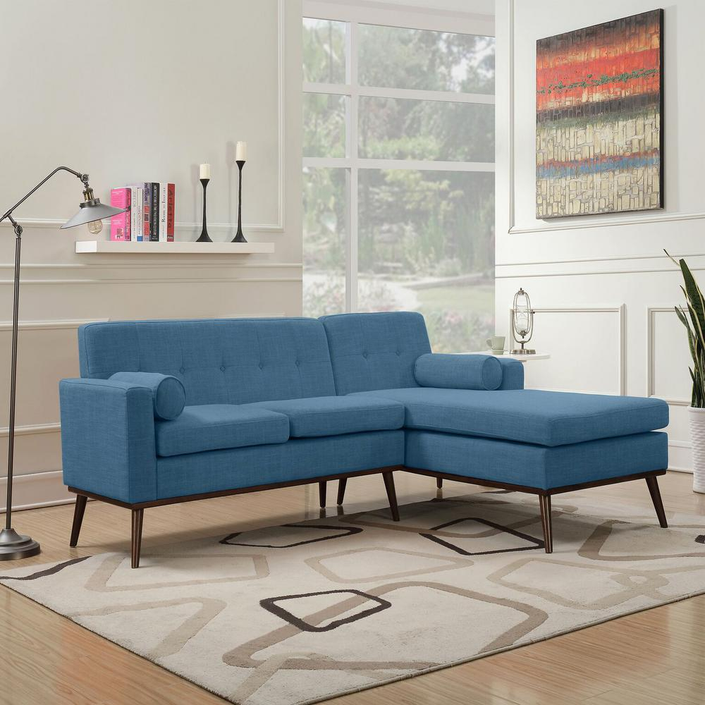 Noble House 2 Piece Muted Blue Fabric Chaise Sectional Pertaining To Dulce Mid Century Chaise Sofas Dark Blue (View 5 of 15)