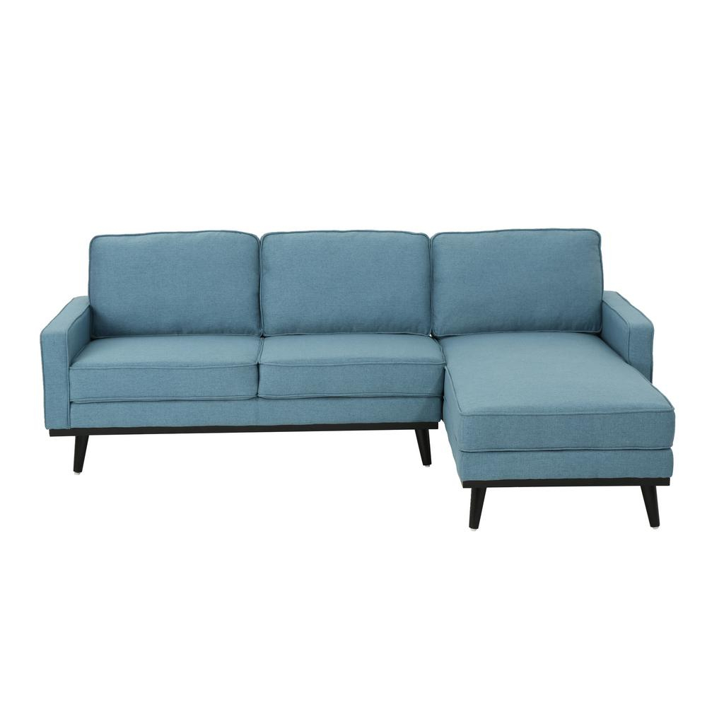 Noble House Matilda Mid Century Modern 2 Piece Blue Fabric Throughout Dulce Mid Century Chaise Sofas Dark Blue (View 6 of 15)