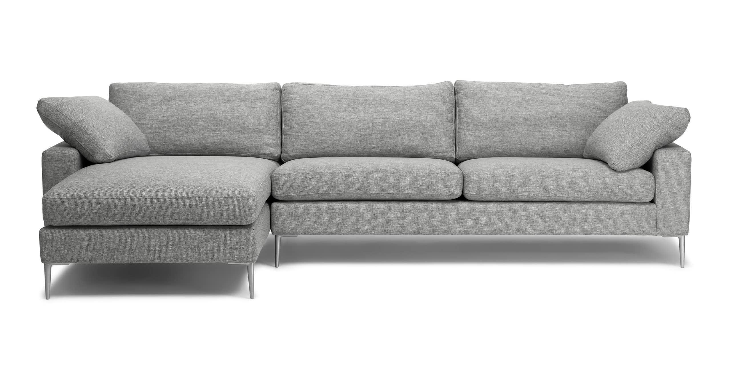 Nova Winter Gray Left Sectional Sofa   Mid Century Modern Intended For Florence Mid Century Modern Left Sectional Sofas (View 9 of 15)