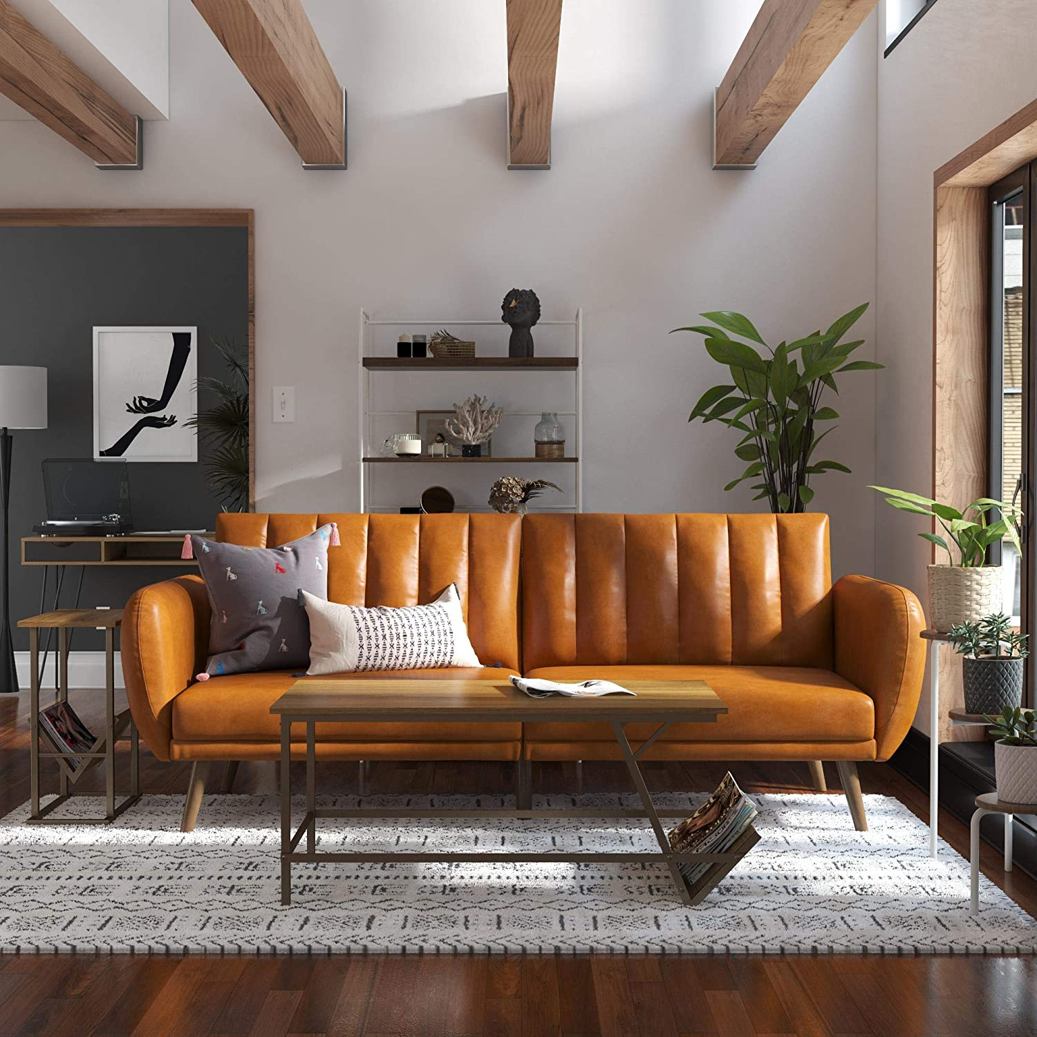 Novogratz Brittany Futon, Convertible Sofa & Couch, Camel Throughout Brittany Sectional Futon Sofas (View 4 of 15)