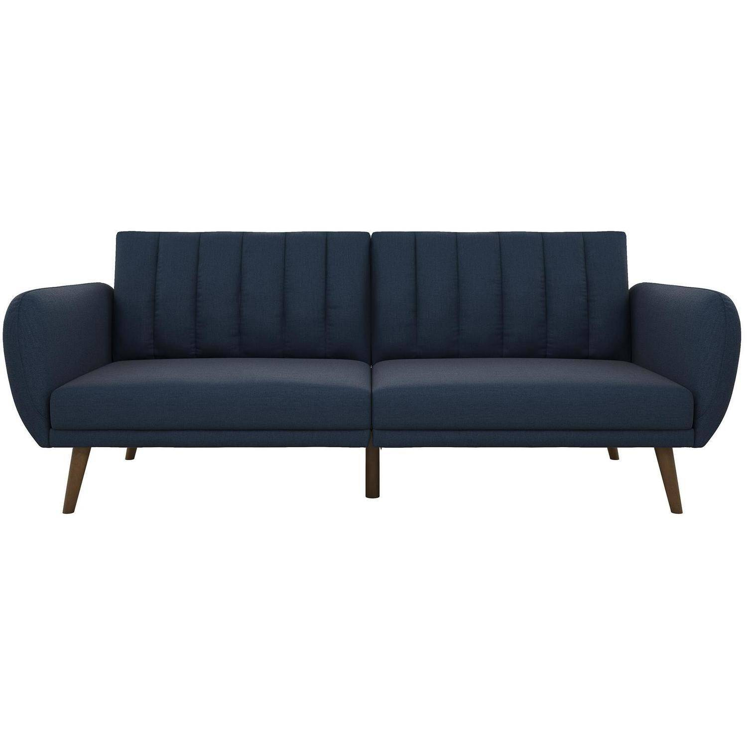 Novogratz Brittany Linen Futon Couch, Multiple Colors Intended For Brittany Sectional Futon Sofas (View 5 of 15)