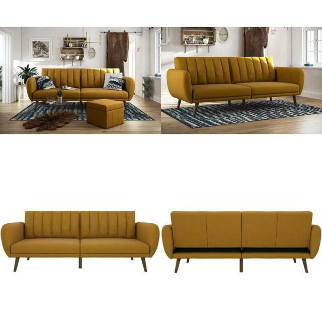Novogratz Brittany Sofa Futon, Premium Linen Upholstery In Brittany Sectional Futon Sofas (View 14 of 15)
