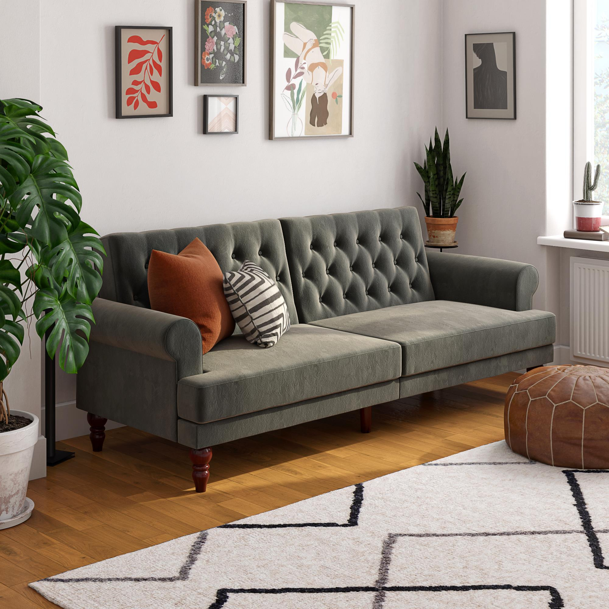 Novogratz Upholstered Cassidy Futon, Convertible Sofa Bed Within Convertible Sectional Sofas (View 5 of 15)