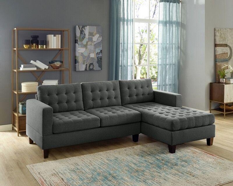 Oah D6119 2 Pc Clao Ash Black Linen Like Fabric Reversible Regarding 2Pc Connel Modern Chaise Sectional Sofas Black (View 4 of 15)