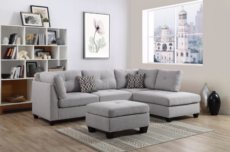 Oah D6605 3 Pc Martinique Light Gray Linen Like Fabric Intended For 2Pc Polyfiber Sectional Sofas With Nailhead Trims Gray (View 11 of 15)