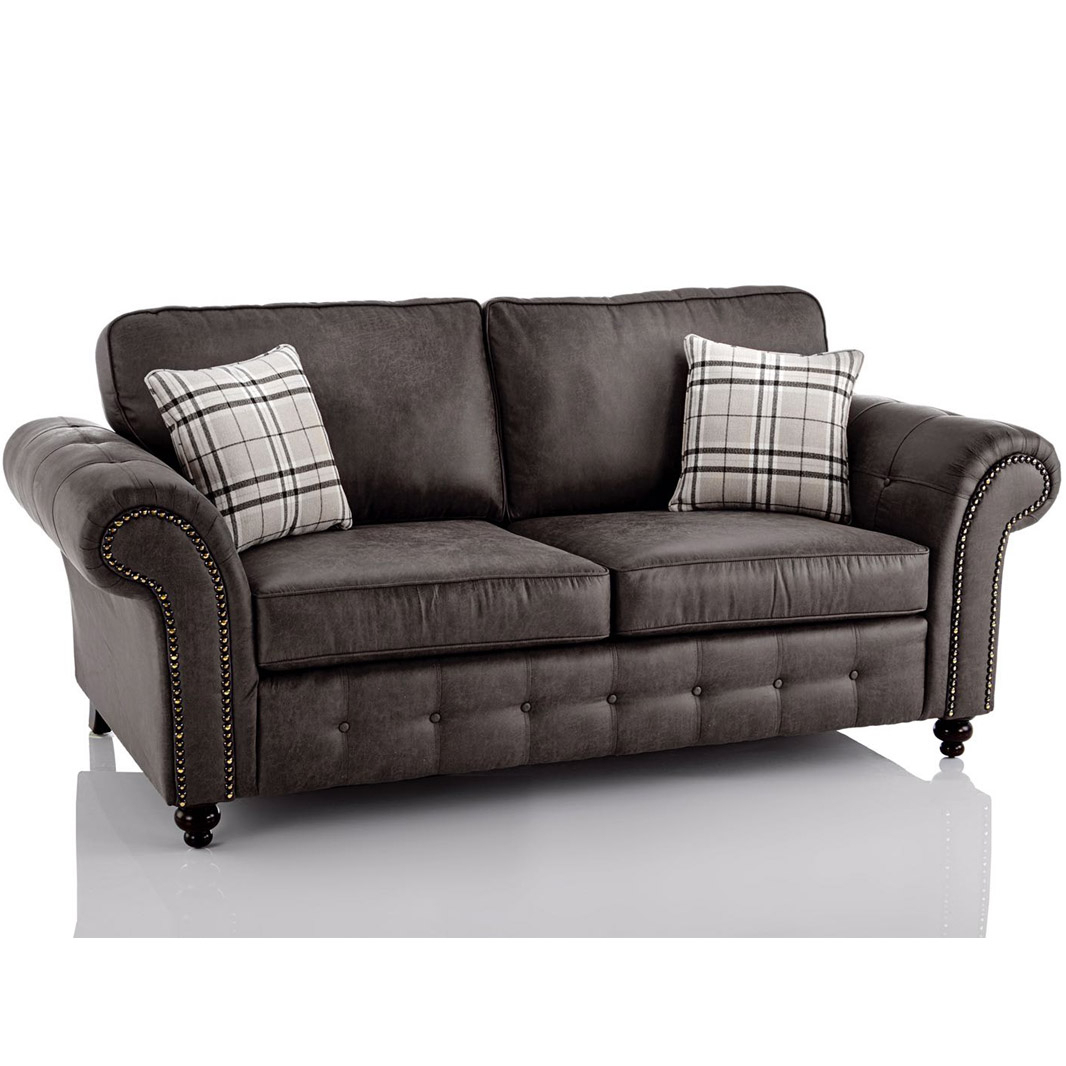 Oakland Faux Leather 3 Seater Sofa In Black | Just Sleep On It Intended For 3 Seater Leather Sofas (View 13 of 15)