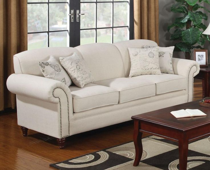 Oatmeal Cream Colored Sofa With Nail Head Trim Intended For Cream Colored Sofas (View 6 of 15)