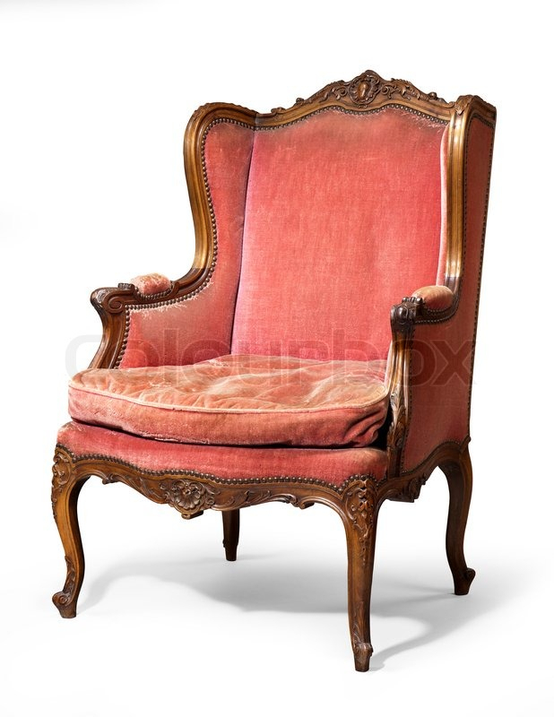 Old Antique Carved Red Upholstered Wing    Stock Photo Pertaining To Old Fashioned Sofas (View 6 of 15)