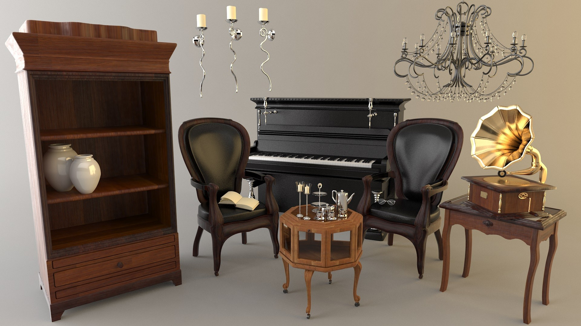 Old Fashioned Furniture Set 3D Model In Old Fashioned Sofas (View 14 of 15)