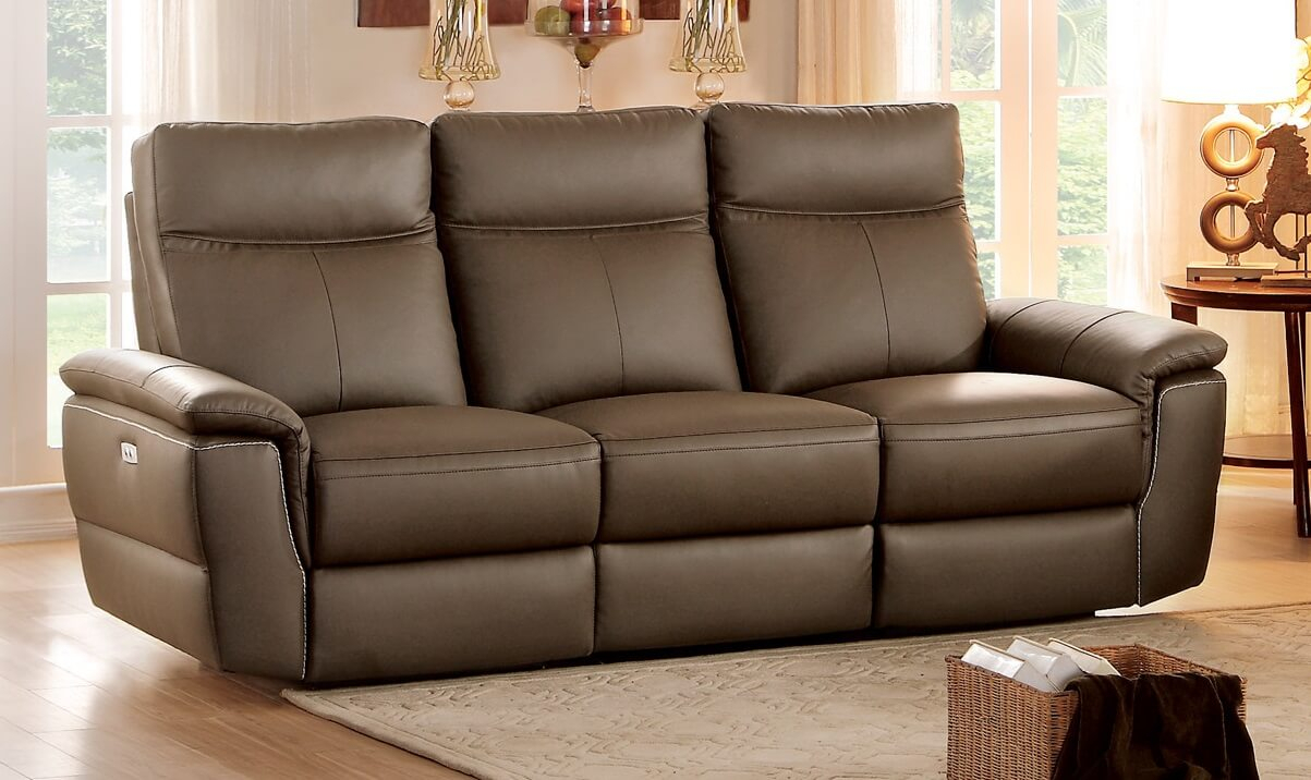 Olympia Top Grain Raisin Leather Power Double Reclining Throughout Power Reclining Sofas (View 15 of 15)