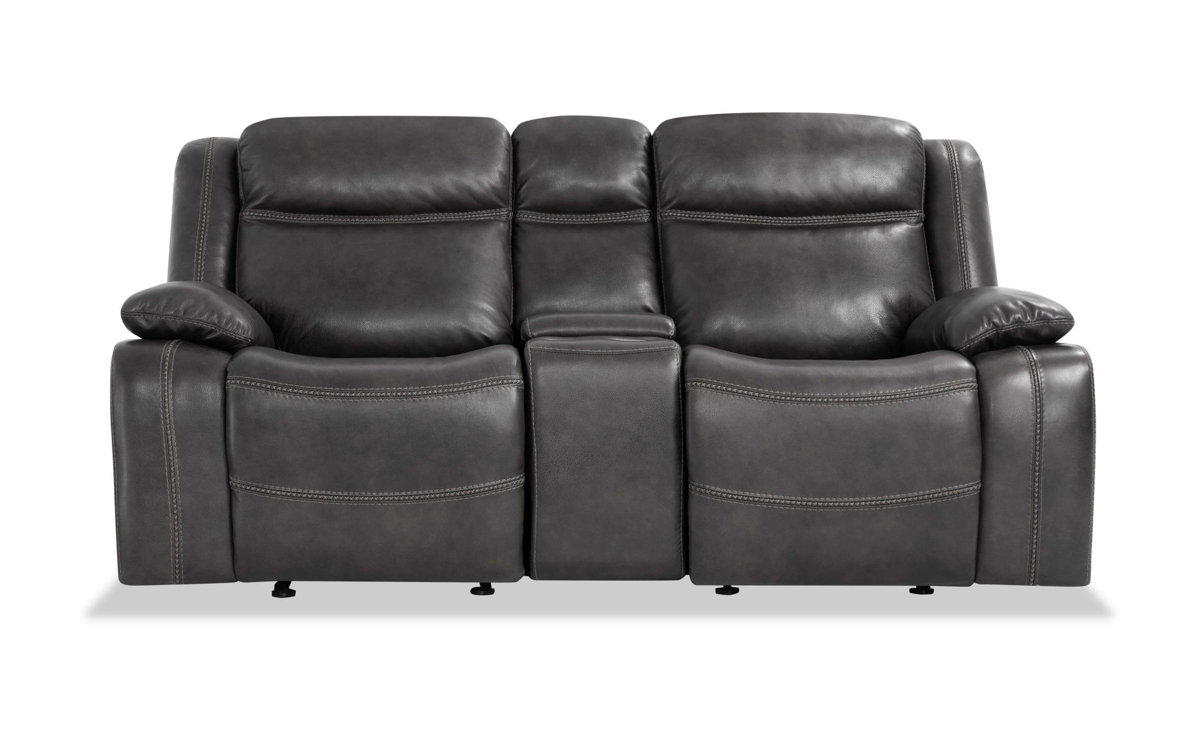 Olympus Gray Leather Power Reclining Loveseat Bob S Regarding Trailblazer Gray Leather Power Reclining Sofas (View 1 of 15)
