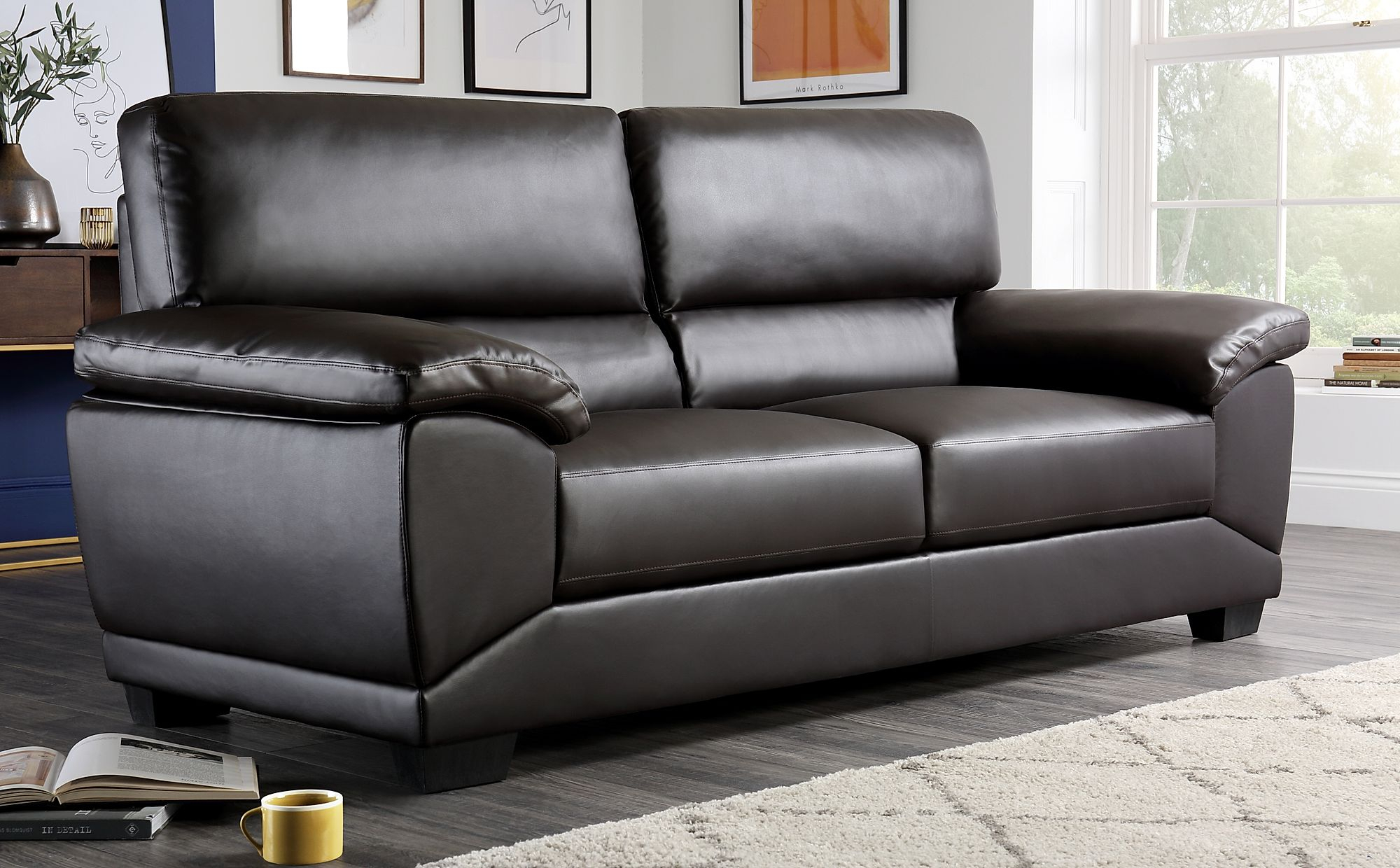 Oregon Brown Leather 3 Seater Sofa | Furniture Choice Within 3 Seater Leather Sofas (View 1 of 15)
