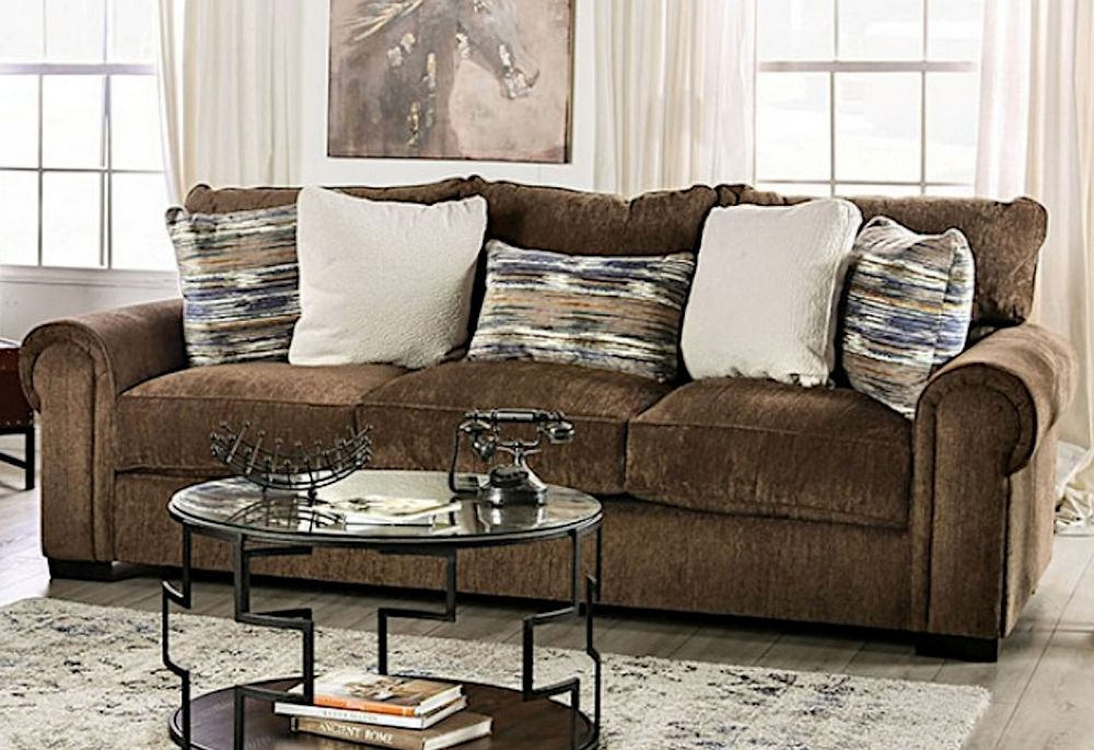 Osborne Brown Plush Chenille Sofa (Oversized)Furniture Throughout Oversized Sofa Chairs (View 2 of 15)