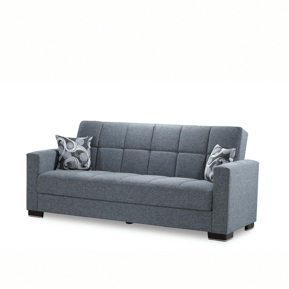 Ottomanson Armada Gray Fabric Upholstery Sofa Sleeper Bed For Hugo Chenille Upholstered Storage Sectional Futon Sofas (View 14 of 15)