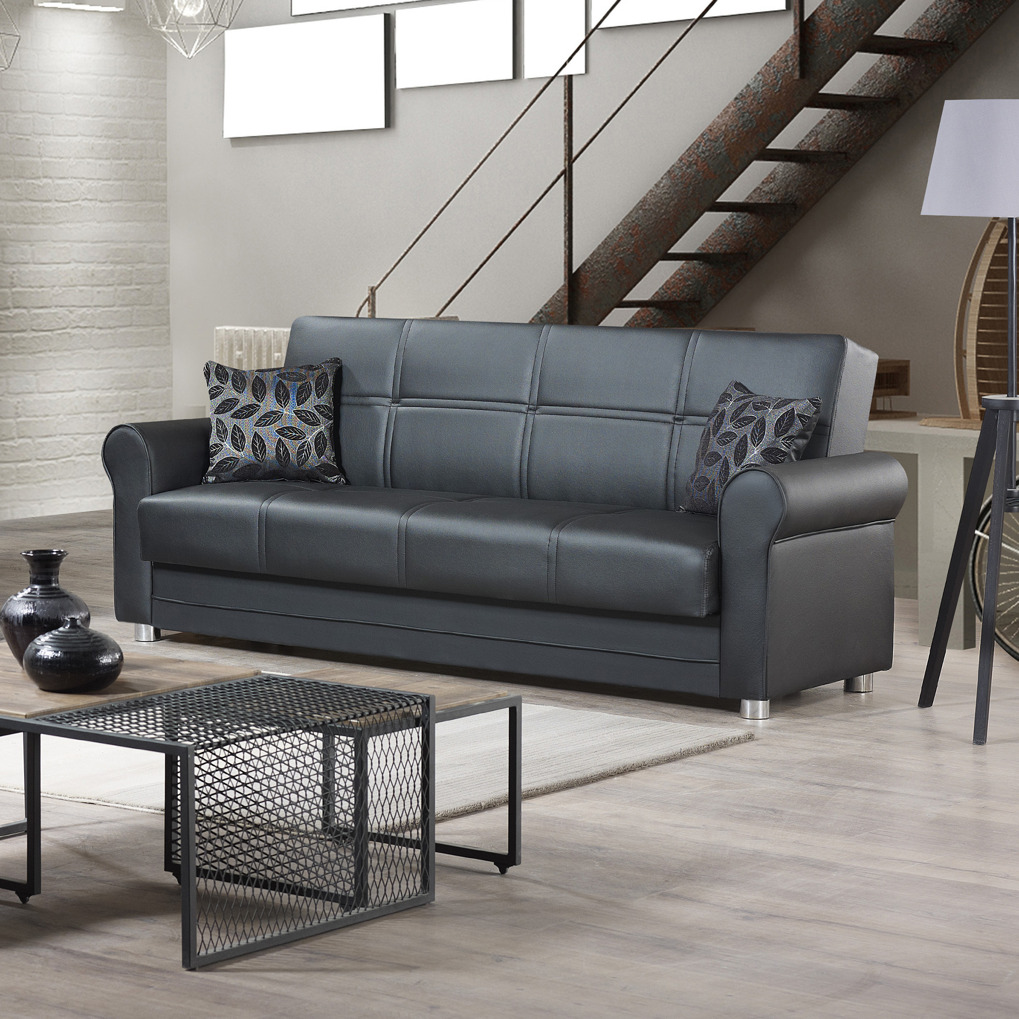 Ottomanson Avalon Sofa Bed With Storage In Leather With Sofa With Chairs (View 2 of 15)