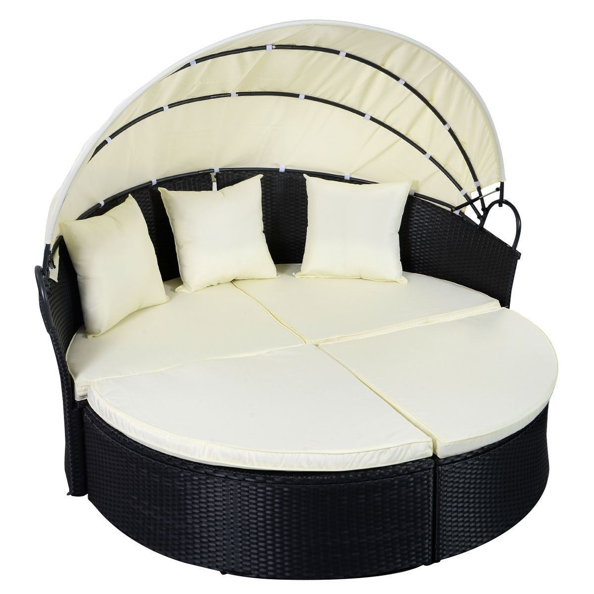 Outdoor Daybed Round Sofa – Black – Walmart – Walmart Pertaining To Outdoor Sofas And Chairs (View 8 of 15)