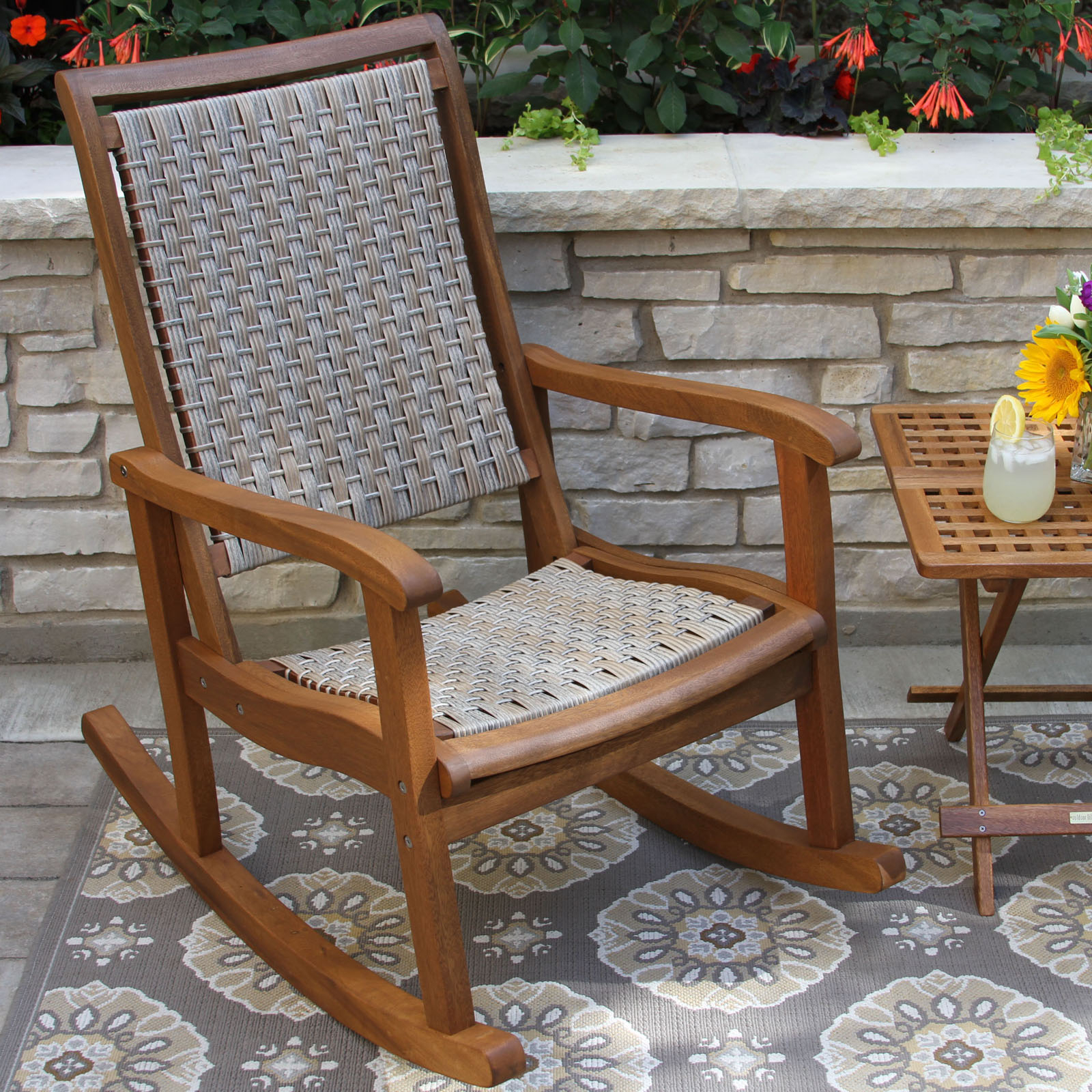 Outdoor Interiors Eucalyptus And Wicker Outdoor Rocker With Regard To Rocking Sofa Chairs (View 11 of 15)