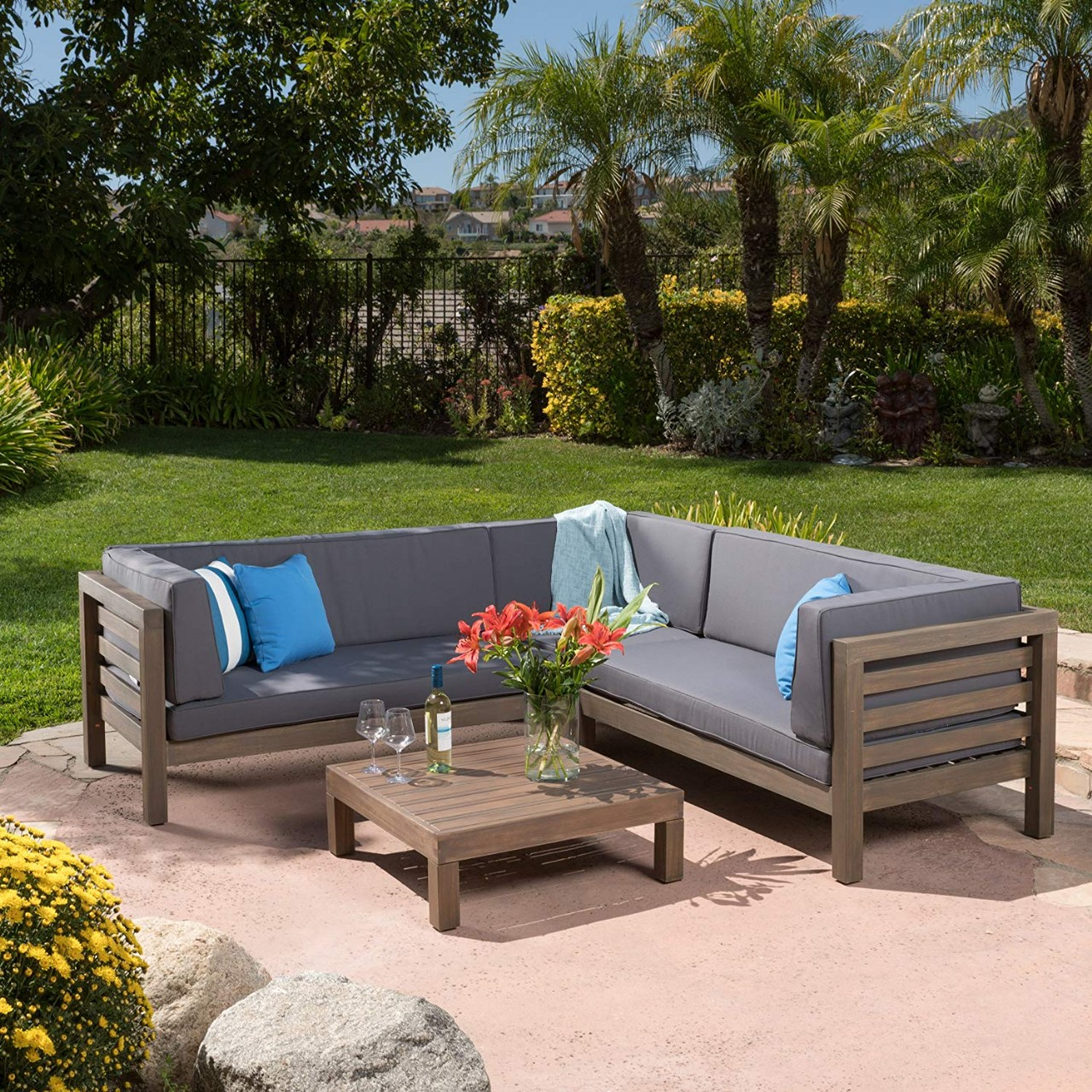 Outdoor Patio Furniture Set Cushioned Pe Rattan Sectional With Regard To Outdoor Sofa Chairs (View 2 of 15)