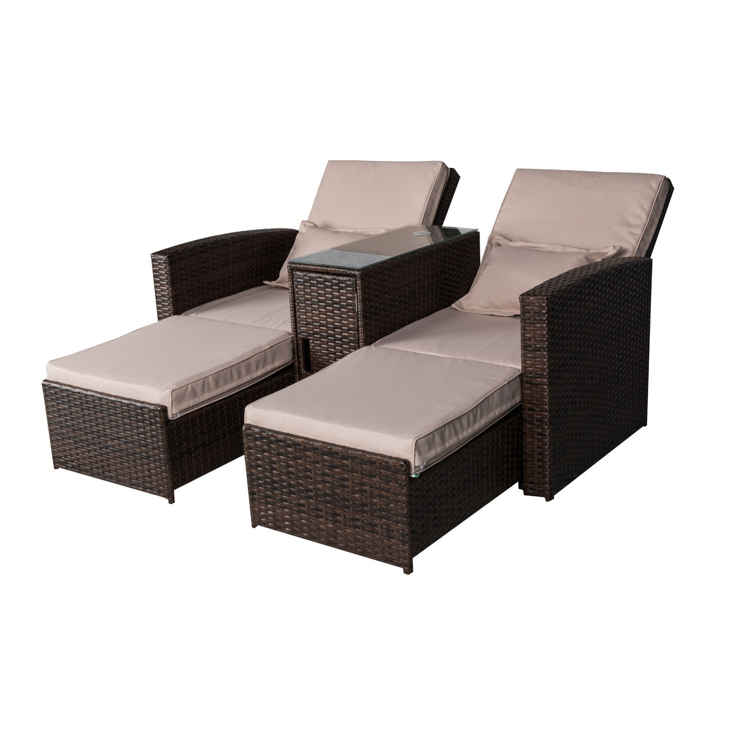 Outsunny 3 Piece Outdoor Rattan Wicker Chaise Lounge For Colby Manual Reclining Sofas (View 14 of 15)