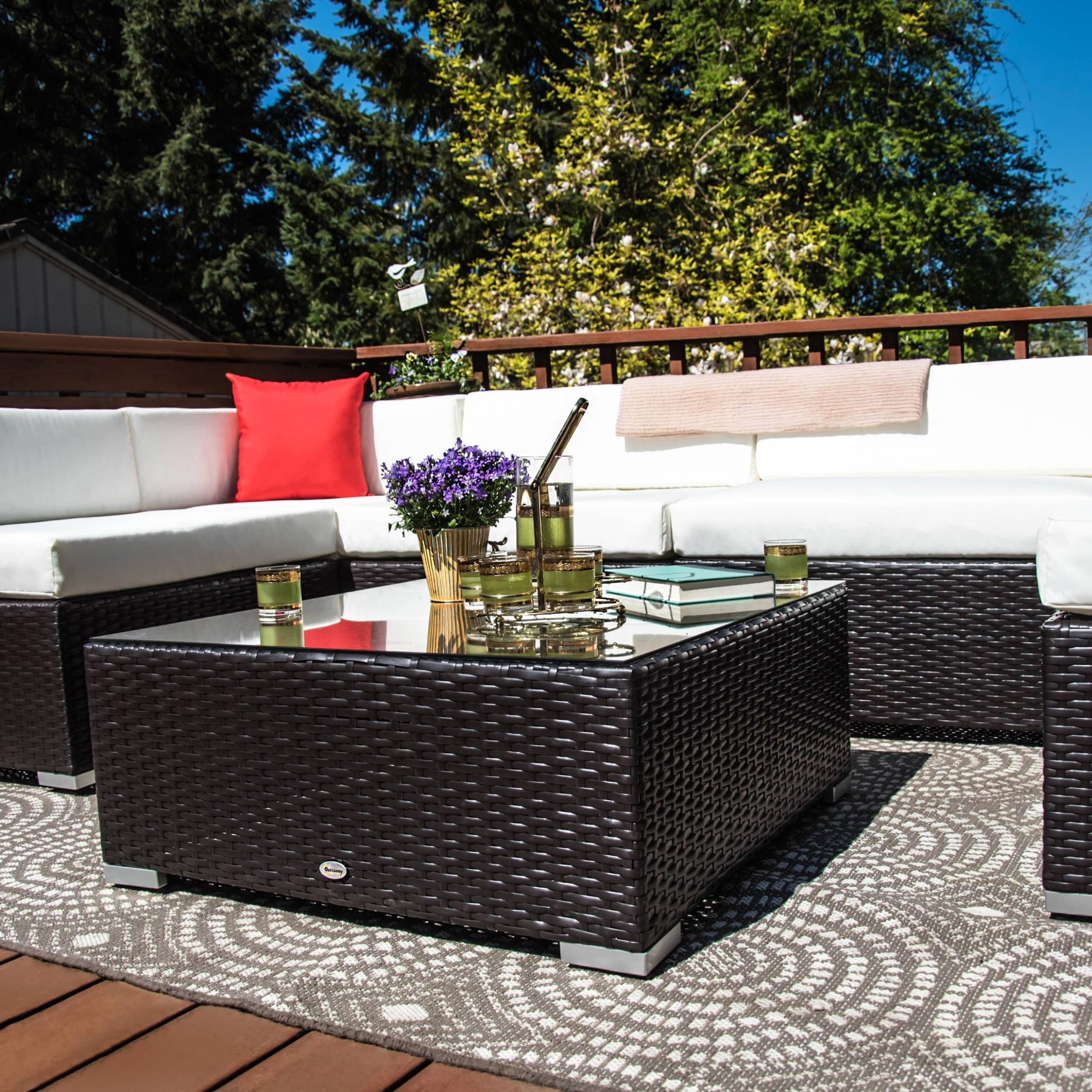 Outsunny 7Pc Outdoor Patio Wicker Rattan Sectional Sofa Within Outdoor Sofa Chairs (View 14 of 15)