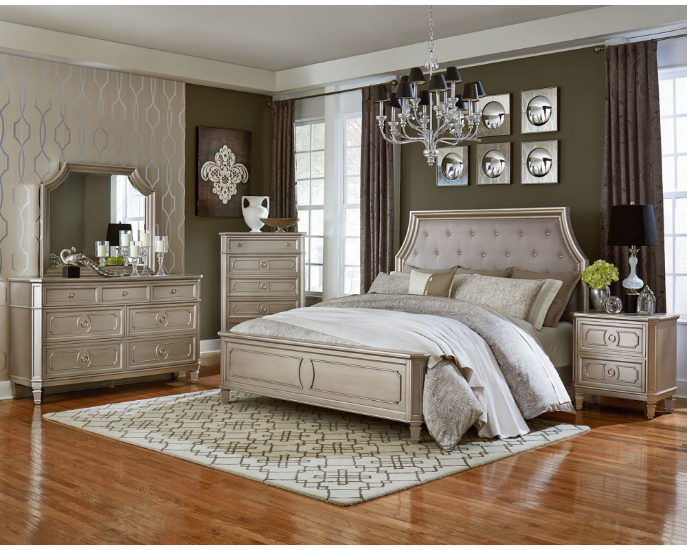 Overstock Furniture Windsor Silver Queen Bed, Dresser Within Bedroom Sofas And Chairs (View 4 of 15)