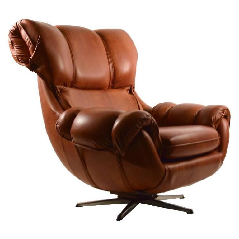 Overstuffed Vinyl Swivel Tilt Lounge Chair At 1Stdibs Within Overstuffed Sofas And Chairs (View 6 of 15)