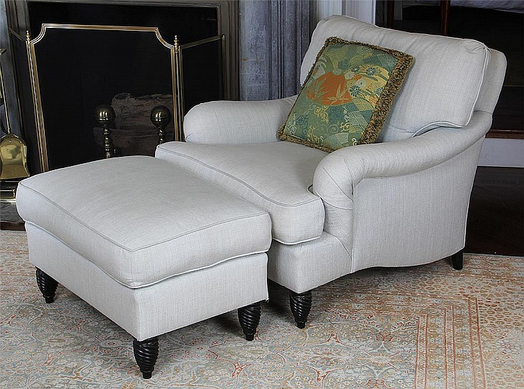 Overstuffed White Upholstered Down Filled Armchair For Overstuffed Sofas And Chairs (View 7 of 15)