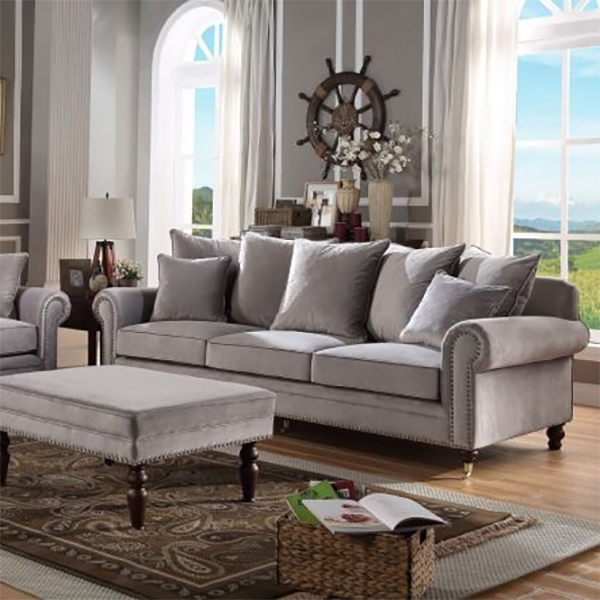 Oxford Grey Velvet Studded 3 Seater Sofa – Lycroft Interiors In Oxford Sofas (View 10 of 15)