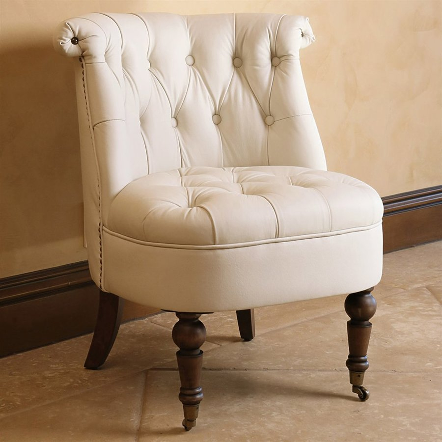 Pacific Loft Monica Casual Ivory Faux Leather Accent Chair Intended For Casual Sofas And Chairs (View 15 of 15)