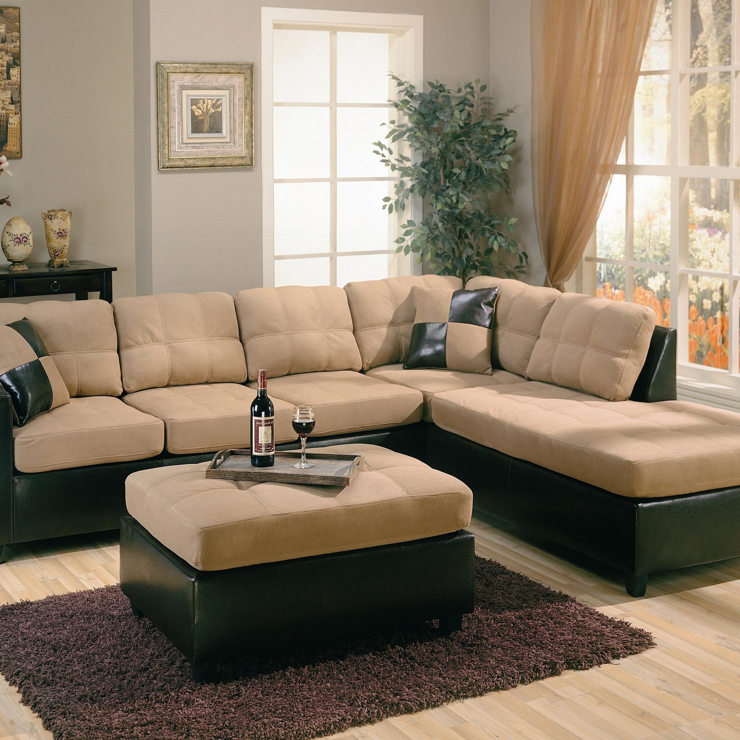 Page Title For Bonded Leather All In One Sectional Sofas With Ottoman And 2 Pillows Brown (View 8 of 15)