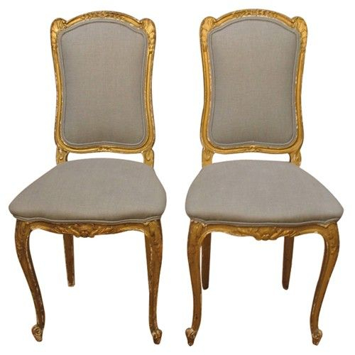 Pair Of 19Th C Italian Gold Gilt Chairs With Grey Linen In 4Pc French Seamed Sectional Sofas Oblong Mustard (View 15 of 15)