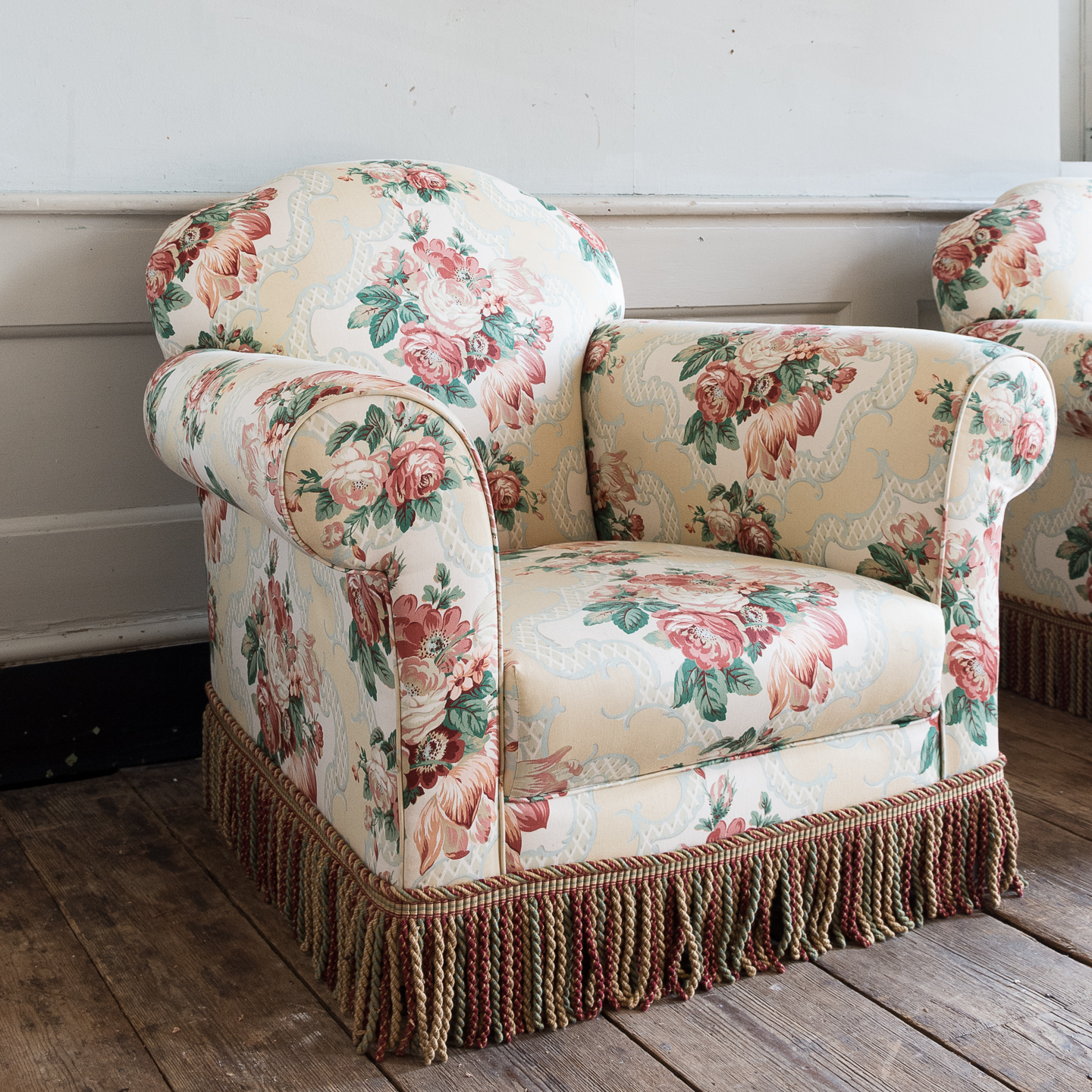 Pair Of Victorian Chintz Upholstered Armchairs For Chintz Sofas And Chairs (View 4 of 15)