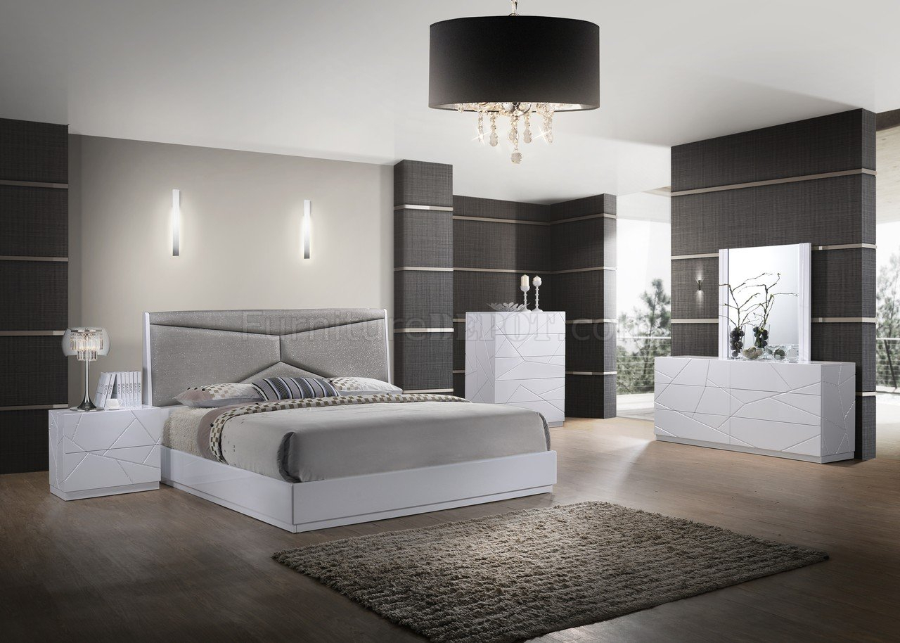 Pandora Bedroom 5Pc Set In Whiteglobal W/Upholstered Bed Inside Bedroom Sofas And Chairs (View 14 of 15)