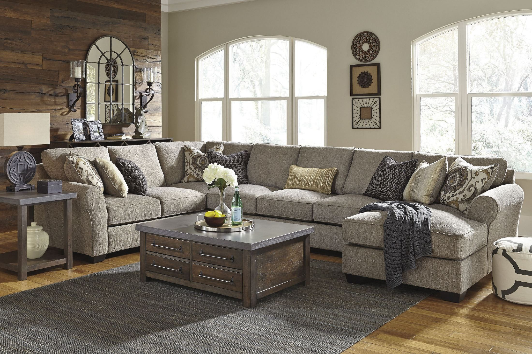 Pantomine Driftwood Raf Large Chaise Sectional From Ashley Inside Oversized Sofa Chairs (View 6 of 15)