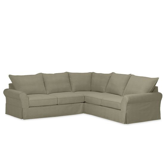 Pb Comfort Roll Arm Slipcovered 3 Piece L Sectional Pertaining To 3 Piece Sectional Sofa Slipcovers (View 12 of 15)
