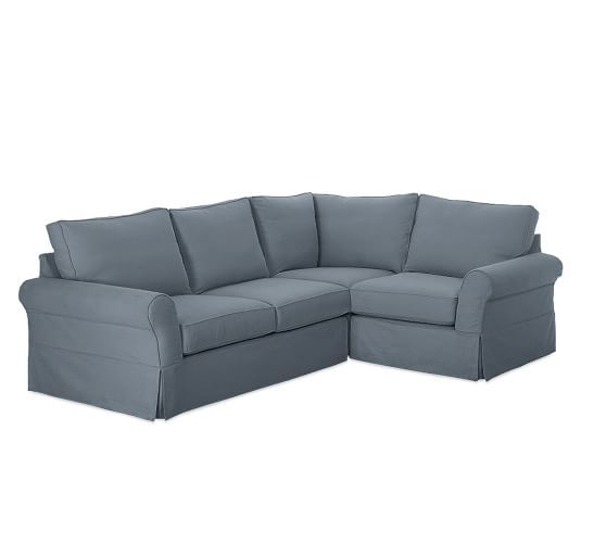Pb Comfort Roll Arm Slipcovered 3 Piece Sectional Within 3 Piece Sectional Sofa Slipcovers (View 9 of 15)