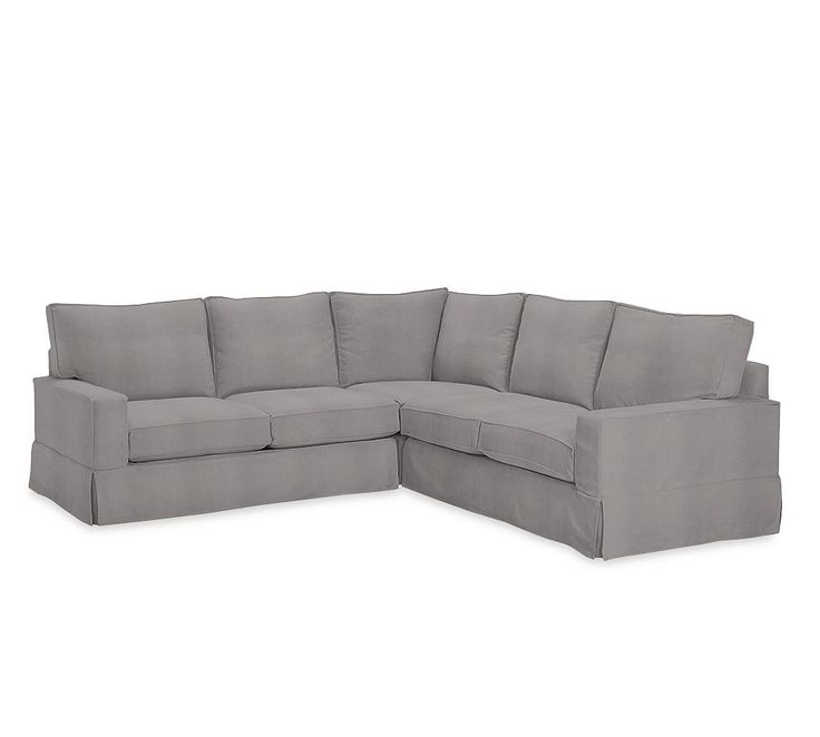 Pb Comfort Square Arm Slipcovered 3 Piece L Shaped Corner Pertaining To 3 Piece Sectional Sofa Slipcovers (View 1 of 15)