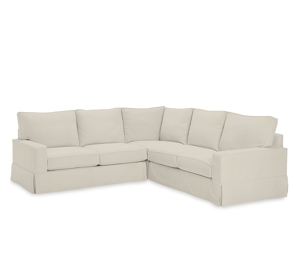 Pb Comfort Square Arm Slipcovered 3 Piece L Shaped Regarding 3 Piece Sectional Sofa Slipcovers (View 8 of 15)