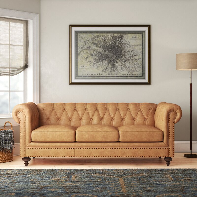 Pepperell Leather Chesterfield Sofa & Reviews | Birch Lane Throughout Chesterfield Sofas (View 14 of 15)
