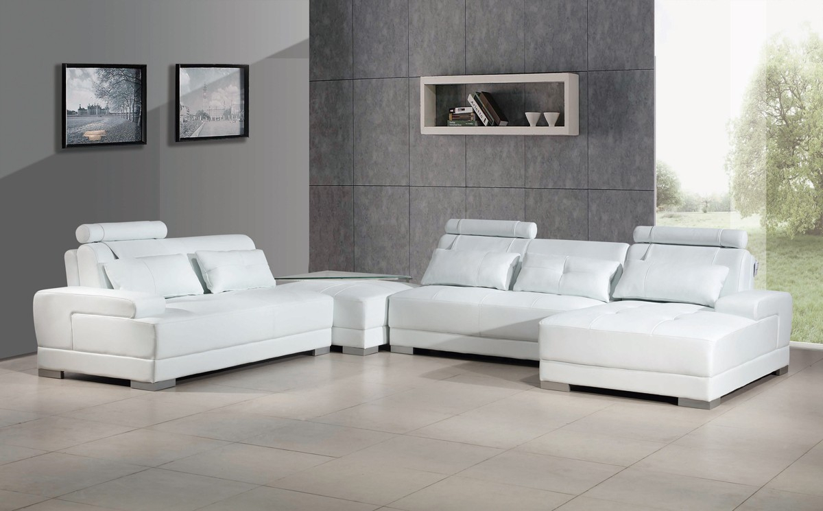 Phantom Contemporary White Leather Sectional Sofa W/Ottoman For Sectional Sofas In White (View 11 of 15)