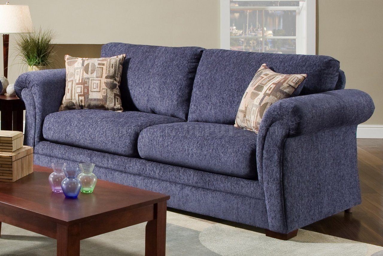 Plush Blue Fabric Casual Modern Living Room Sofa With Blue Sofa Chairs (View 6 of 15)