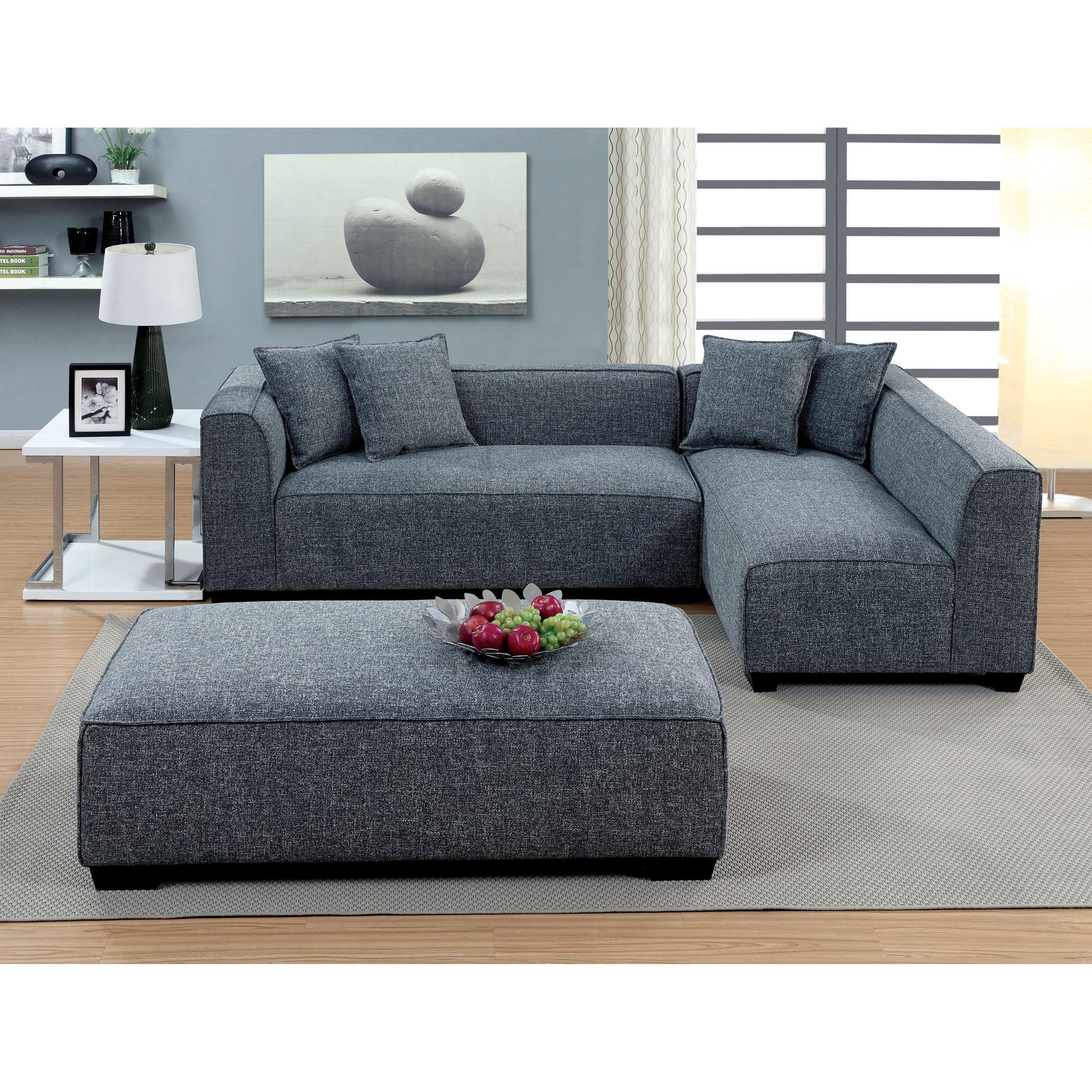 Plush Sectional Sofa Furniture Of America Misha Regarding 2Pc Luxurious And Plush Corduroy Sectional Sofas Brown (View 3 of 15)