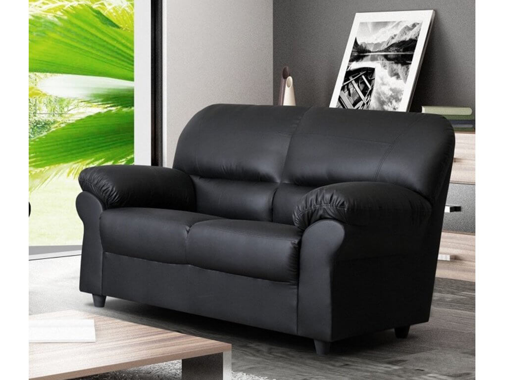 Polo Black 2 Seater High Quality Faux Leather Sofa Intended For Two Seater Sofas (View 8 of 15)