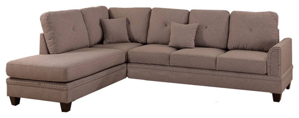 Polyfiber 2 Piece Sectional Set With Nail Head Trims In Intended For 2Pc Polyfiber Sectional Sofas With Nailhead Trims Gray (View 1 of 15)